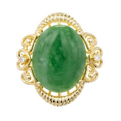 GIA Certified 6.33 Carat Cabochon Jadeite Jade Green Diamond Gold Cocktail Ring