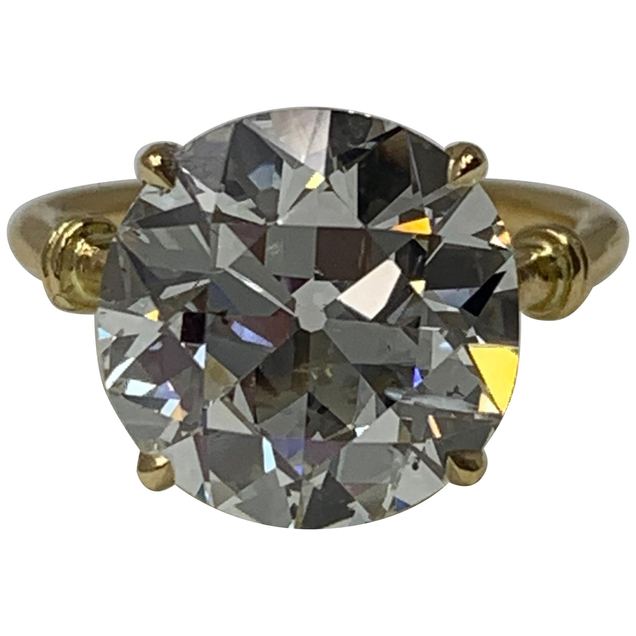 6.34 Carat Old European Cut Diamond Ring in 18 Karat Gold, GIA Certified.