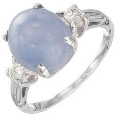 GIA Certified 6.37 Carat Star Sapphire Diamond Platinum Ring