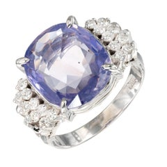 GIA Certified 6.40 Carat Color Change Sapphire Diamond Platinum Ring