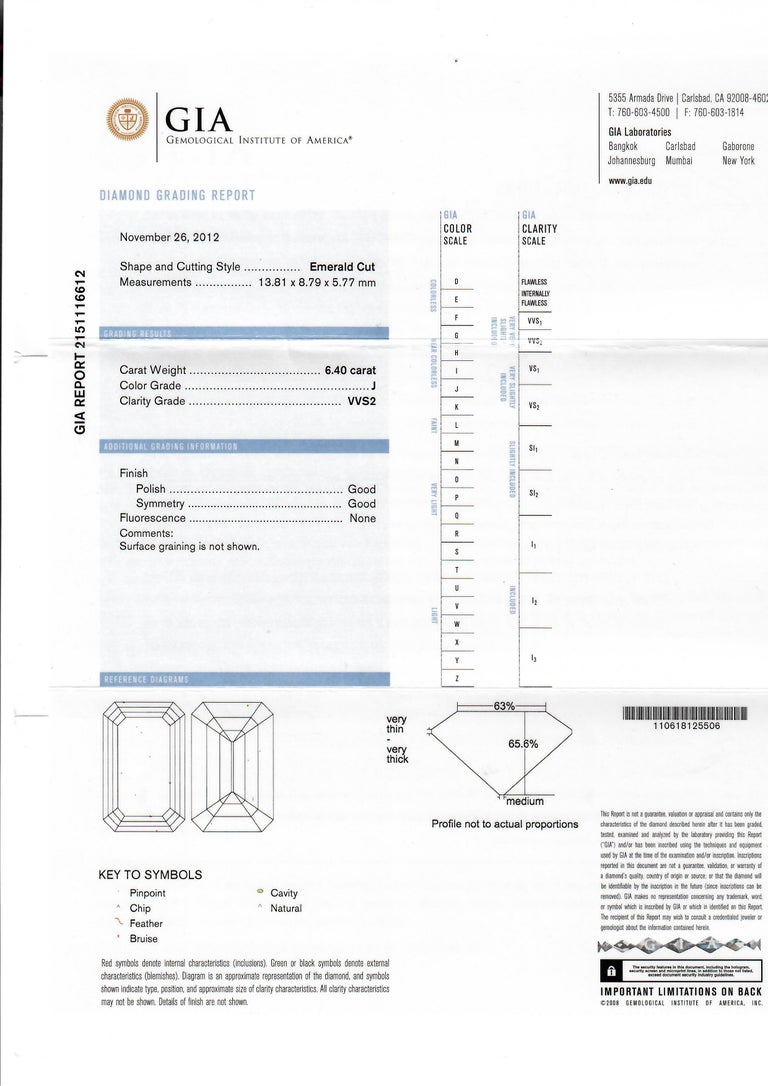 GIA Certified 6.40 Carat Emerald Cut Diamond Engagement Ring, J-VVS2 For Sale 4