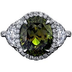 GIA Certified 6.40 Carat Oval Alexandrite and Diamond Ring