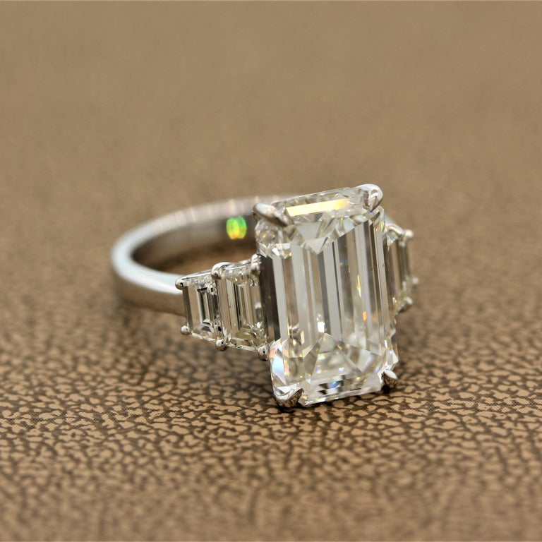 GIA Certified 6.40 Carat Emerald Cut Diamond Engagement Ring, J-VVS2 In New Condition For Sale In Beverly Hills, CA