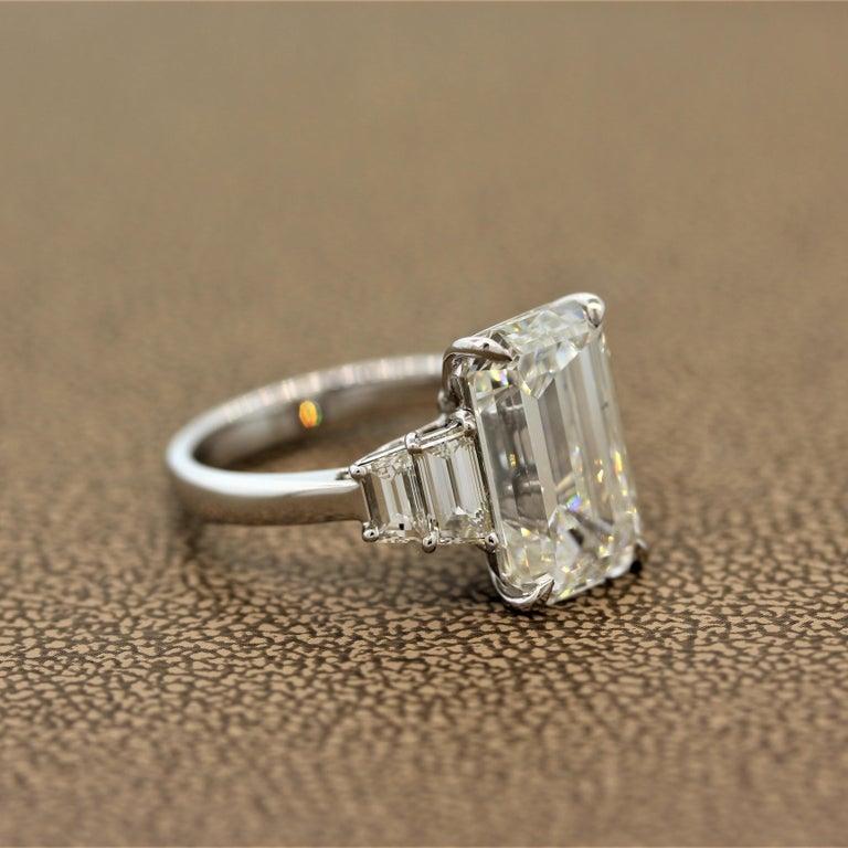 Women's GIA Certified 6.40 Carat Emerald Cut Diamond Engagement Ring, J-VVS2 For Sale