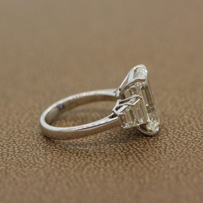 GIA Certified 6.40 Carat Emerald Cut Diamond Engagement Ring, J-VVS2 For Sale 1