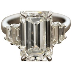 GIA Certified 6.40 Carat Emerald Cut Diamond Engagement Ring, J-VVS2