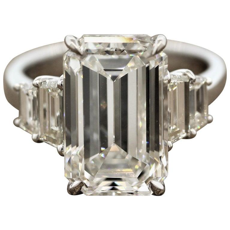 GIA Certified 6.40 Carat Emerald Cut Diamond Engagement Ring, J-VVS2 For Sale
