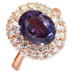GIA Certified 6.41 Carat Natural Vivid Purple Sapphire Diamonds Ring