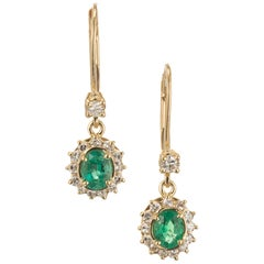 GIA Certified .65 Carat Emerald Diamond Halo Yellow Gold Dangle Earrings