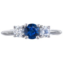 GIA Certified .65 Carat Sapphire Diamond Three-Stone Engagement Ring