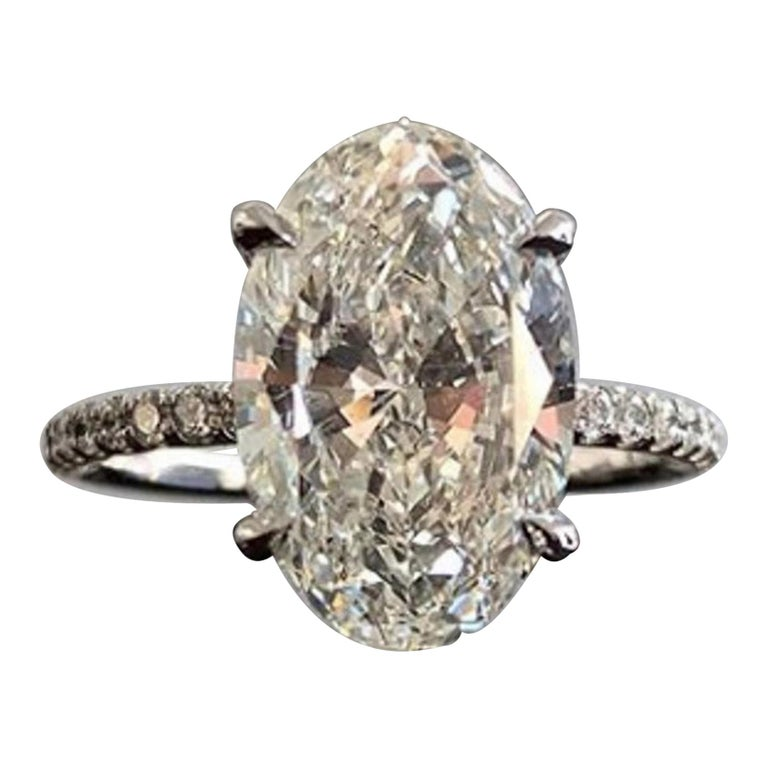 GIA Certified 6.50 Carat Oval Diamond Ring For Sale