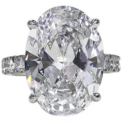 GIA Certified 6.75 Carat Oval Diamond Platinum Solitaire Ring VS2 Clarity