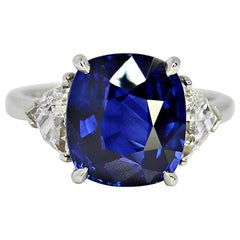 GIA Certified 6.51 Carat Cushion Deep Blue Sapphire and Diamond Ring