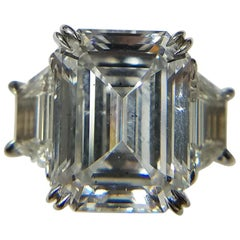 GIA Certified 6.55 Carat Emerald Cut Diamond D SI1 Ring by Louis Newman & Co.