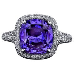 GIA Certified 6.56 Carat Cushion Violet Blue Sapphire and Diamond Ring