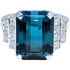 Berca GIA Certified 6.58 Karat Octagonal Cut Blue Tourmaline White Diamond Ring
