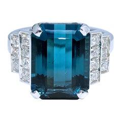 GIA Certified 6.58 Kt Octagonal Cut Blue Tourmaline White Diamond Cocktail Ring
