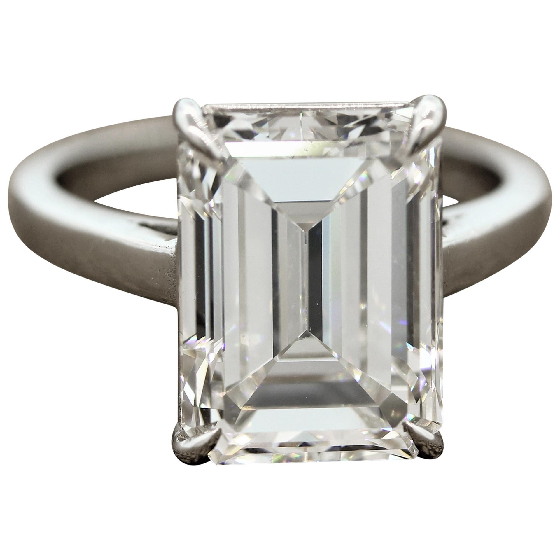 GIA Certified 6.58 Carat Emerald Cut Diamond Engagement Ring, H-VS1