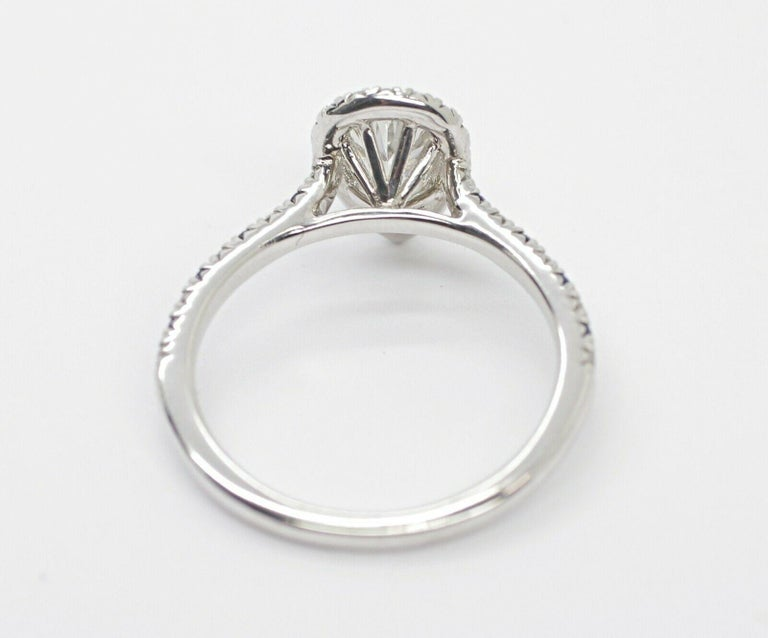 Pear Cut GIA Certified .65pts Diamond Sapphire Halo For Sale