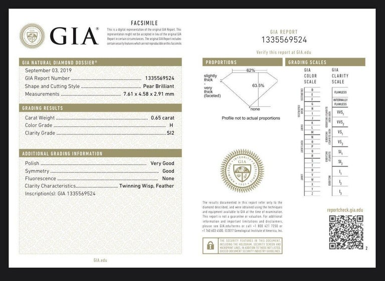 GIA Certified .65pts Diamond Sapphire Halo In New Condition For Sale In Los Angeles, CA