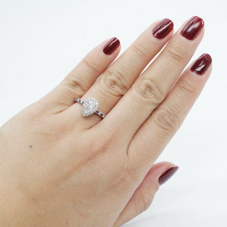Women's or Men's GIA Certified .65pts Diamond Sapphire Halo For Sale