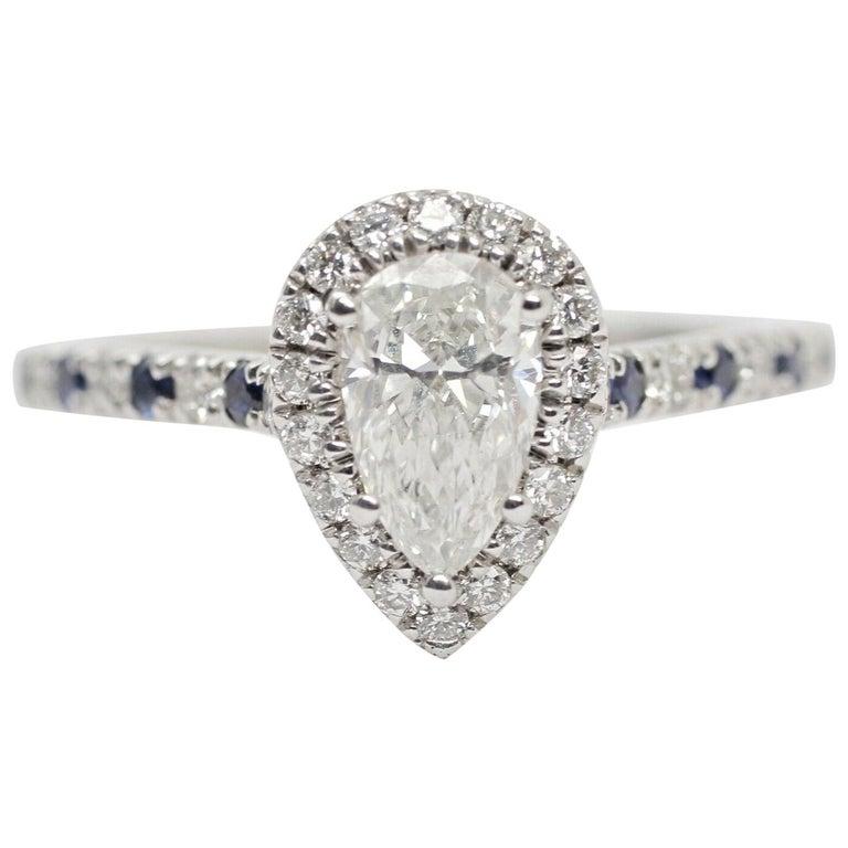 GIA Certified .65pts Diamond Sapphire Halo For Sale