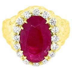 GIA Certified 6.68 Carat Natural Burma No Heat Ruby 18 Karat Yellow Gold Ring