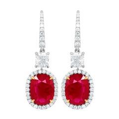 GIA Certified 6.68 Carat Ruby Diamond Earrings
