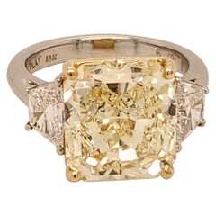 GIA Certified 6.69 Carat Internally Flawless Fancy Yellow Three-Stone Ring