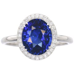 Flawless Clarity GRS GIA Certified 6.70 Carat Natural Sapphire Ring