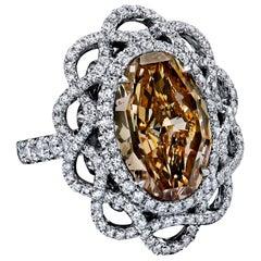 GIA Certified 6.71 Carat Oval Fancy Brownish Orange Diamond Ring
