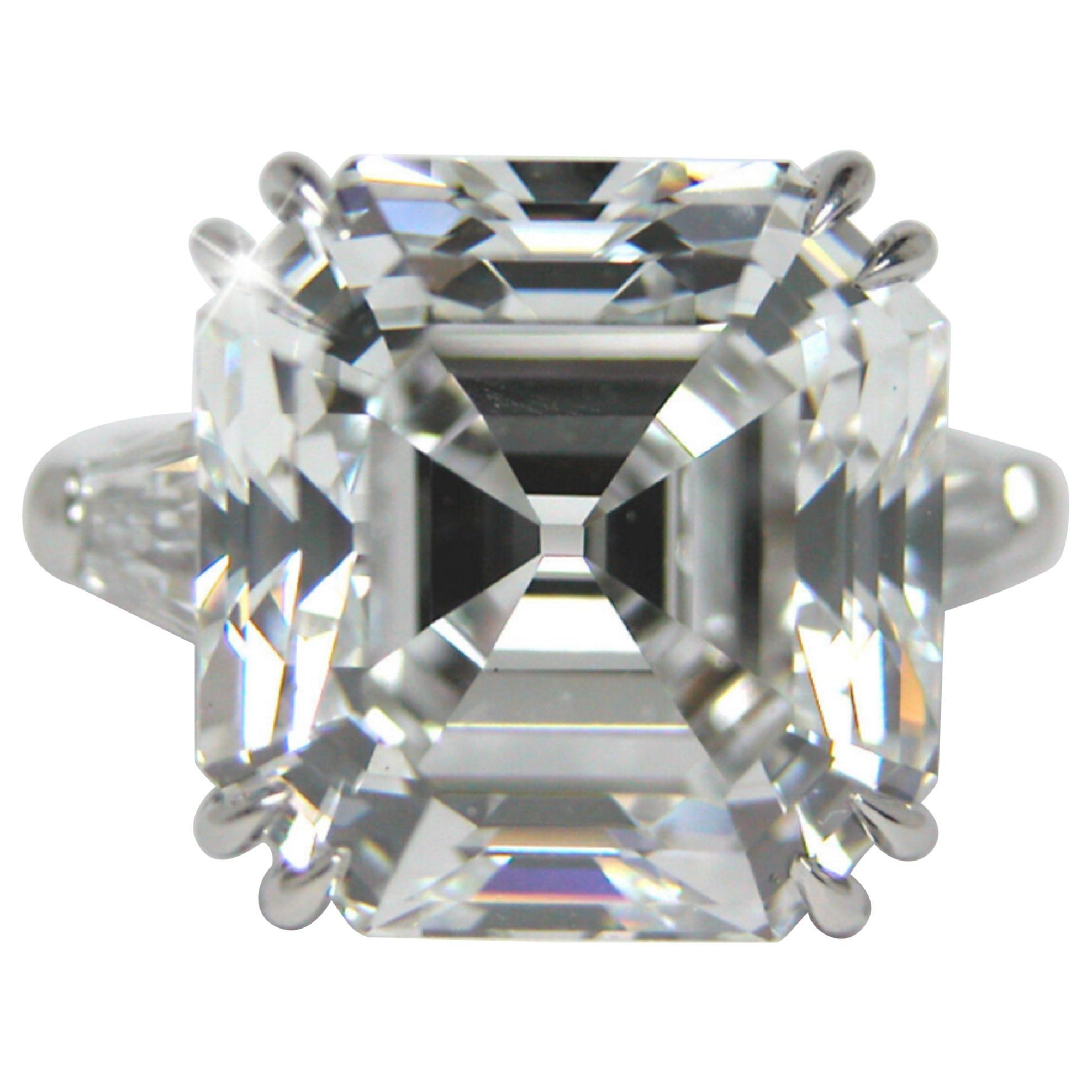 GIA Certified 6.75 Carat Asscher Cut Diamond Platinum Ring E Color VS2 Clarity