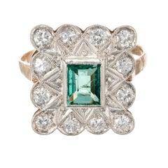 GIA Certified .68 Carat Emerald Diamond Art Deco Platinum Ring
