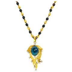 GIA Certified 6.80 Carat Blue Sapphire and Diamond Indian Necklace