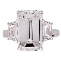 GIA Certified 6.80 Carat Emerald Cut Diamond Platinum Trapezoid Diamond Ring