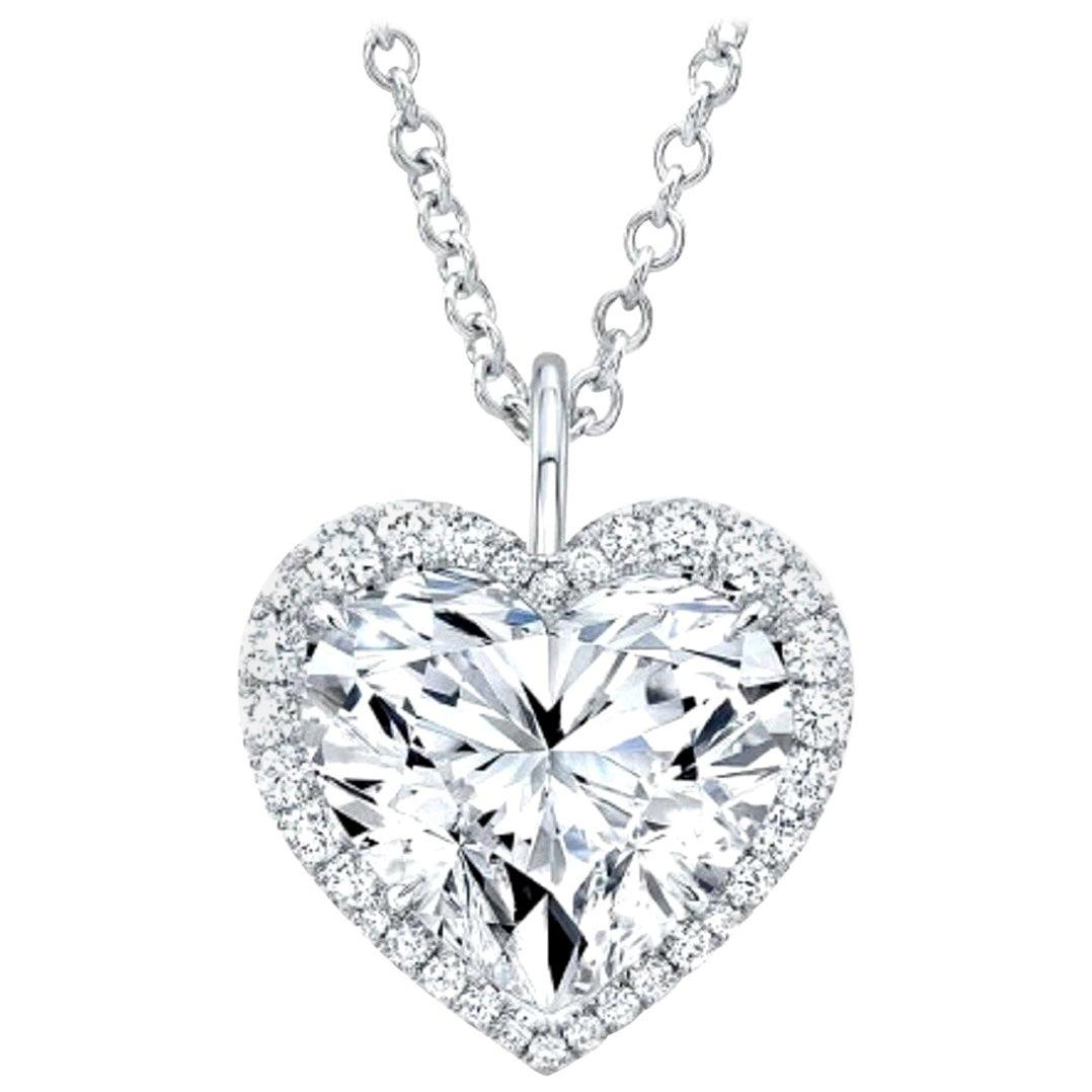 GIA Certified 6 Carat (main stone) Heart Shape Diamond 18 Carats Gold Necklace