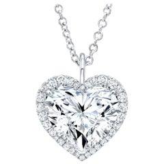 GIA Certified 5 Carat (main stone) Heart Shape Diamond 18 Carats Gold Necklace