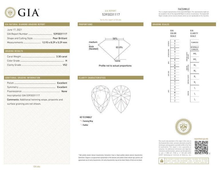 An amazing pair of GIA certified 6.81 carat in total of pear cut diamond earrings.