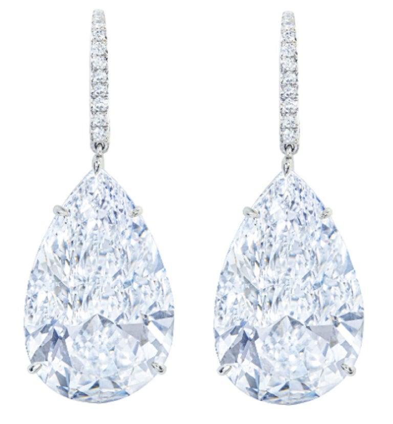 GIA Certified 6.81 Carat Pear Cut Diamond Dangle Earrings In New Condition For Sale In Rome, IT