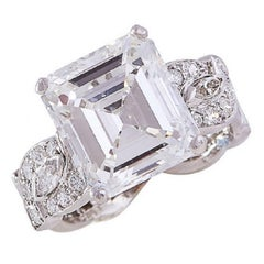 GIA Certified 6.82 Carat Emerald-Cut Diamond and Platinum Engagement Ring