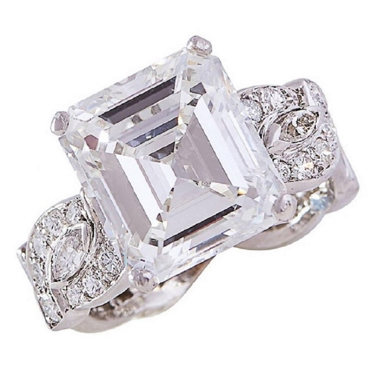 GIA Certified 6.82 Carat Emerald-Cut Diamond and Platinum Engagement Ring