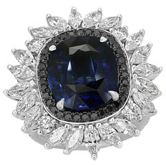 GIA Certified 6.83 Carat Blue Sapphire Diamond Halo Fashion Cocktail Gold Ring