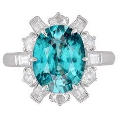 DiamondTown GIA Certified 6.85 Carat Oval Cut Blue Zircon and Diamond Ring