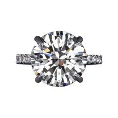 GIA Certified 6.85 Carat Round Brilliant Cut Diamond Platinum Ring F Color VS2