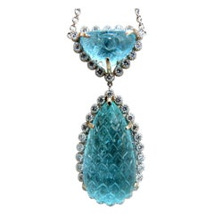 GIA Certified 68.90ct Natural Carved Cabochon Aquamarine Diamonds Necklace 18kt