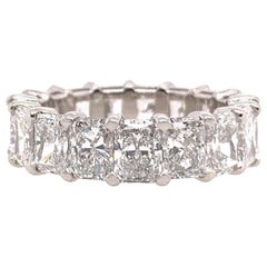 GIA Certified 6.90 Carat Platinum Radiant D-F VS1+ Natural Diamond Eternity Band