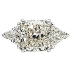 GIA Certified 6.90 Carat Radiant Cut Diamond Three-Stone Engagement Ring