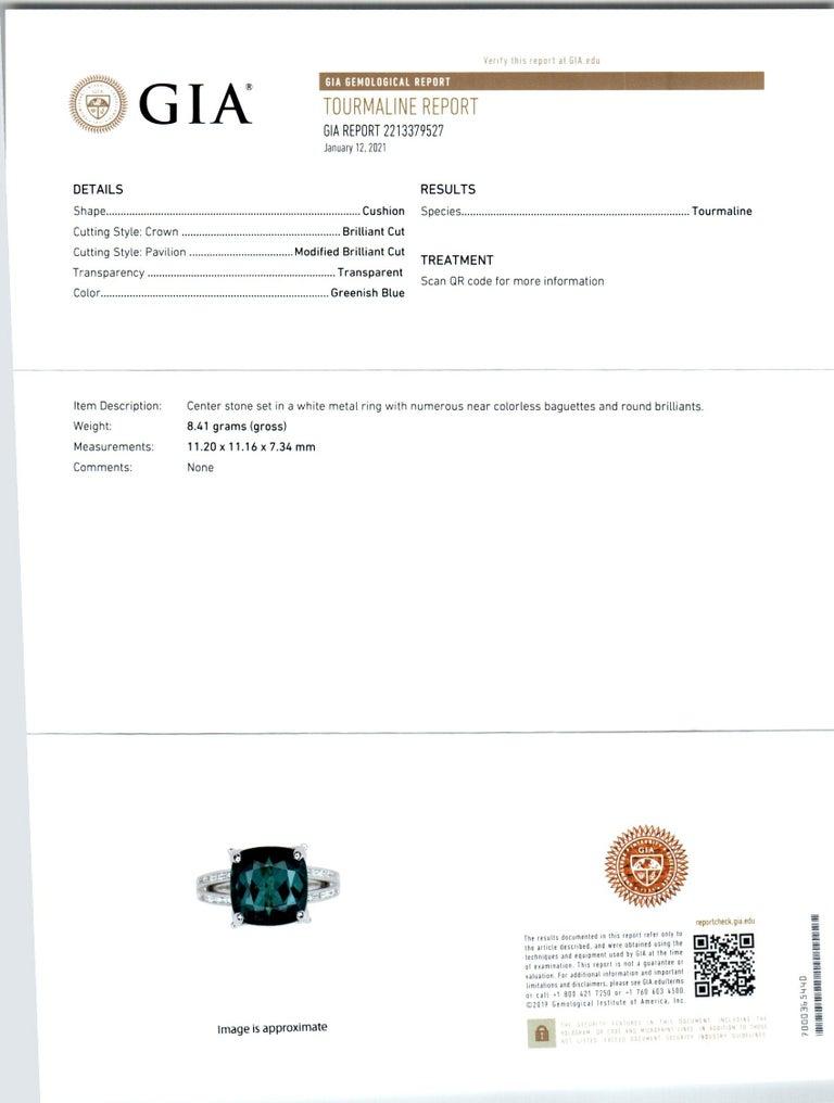 GIA Certified 6.90 Carat Tourmaline Diamond Platinum Ring 5