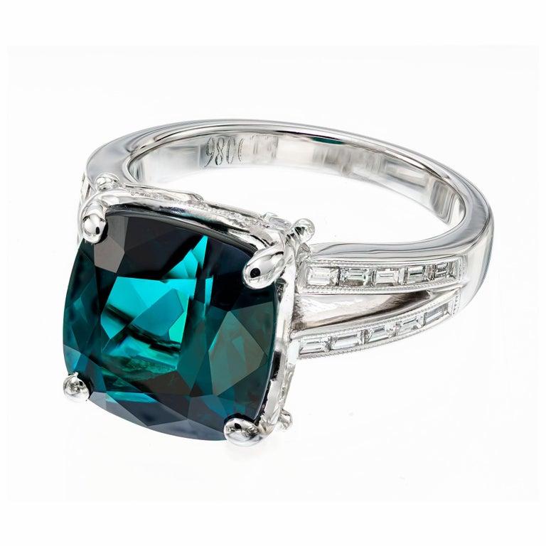 Cushion Cut GIA Certified 6.90 Carat Tourmaline Diamond Platinum Ring