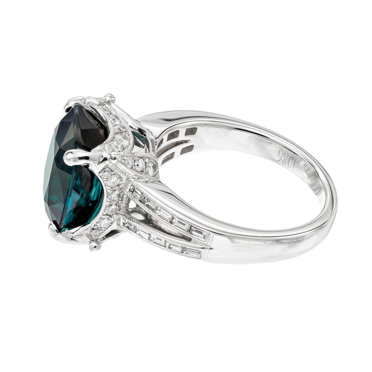 GIA Certified 6.90 Carat Tourmaline Diamond Platinum Ring In Excellent Condition In Stamford, CT